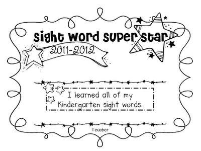 Sight words award
