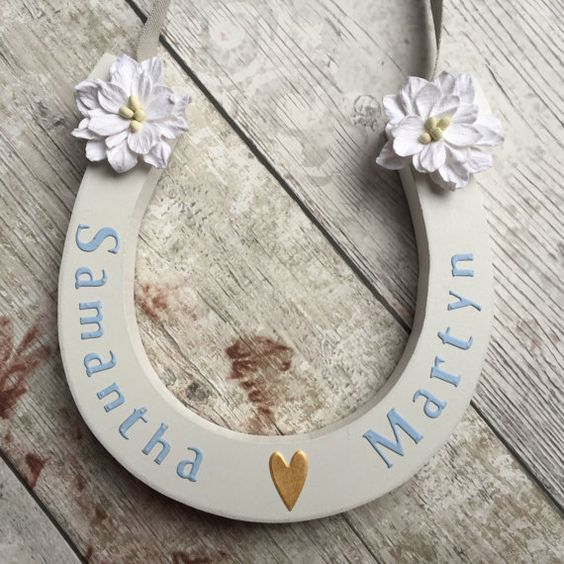 Personalised Wedding Horseshoe Vintage Wooden by HenryAndRosie