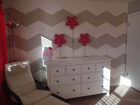 Chevron wall I did for my daughters room. Accented with hot pink ...