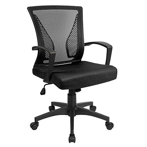 Devoko Mid Back Computer Office Swivel Desk Chair With Arms Height Adjustable Ergonomic Task Mesh Chair Black Mesh Chair Desk Chair Chair