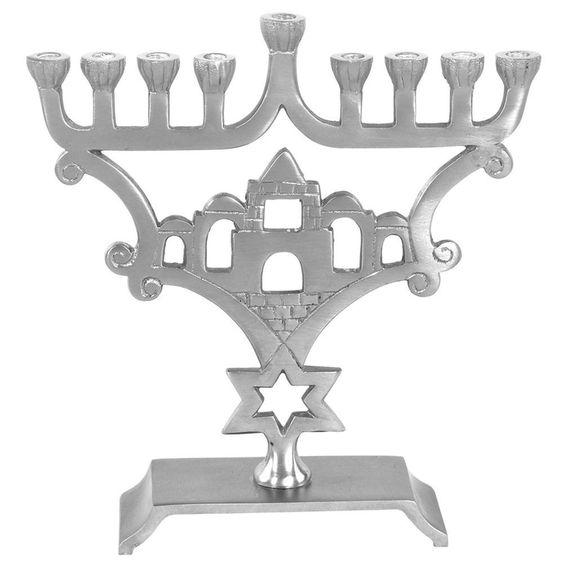 "Lamp Lighters Ultimate Judaica Menorah Aluminium with Pewter Finish - 8.5""H"
