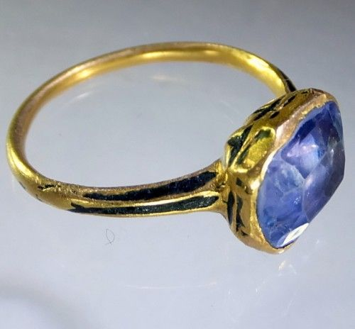 Mid seventeenth century enameled sapphire ring. Ca 1630-40