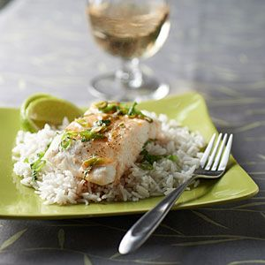 Steamed Halibut with Sesame-Lime Sauce and Coconut Rice Recipe | MyRecipes.com Mobile