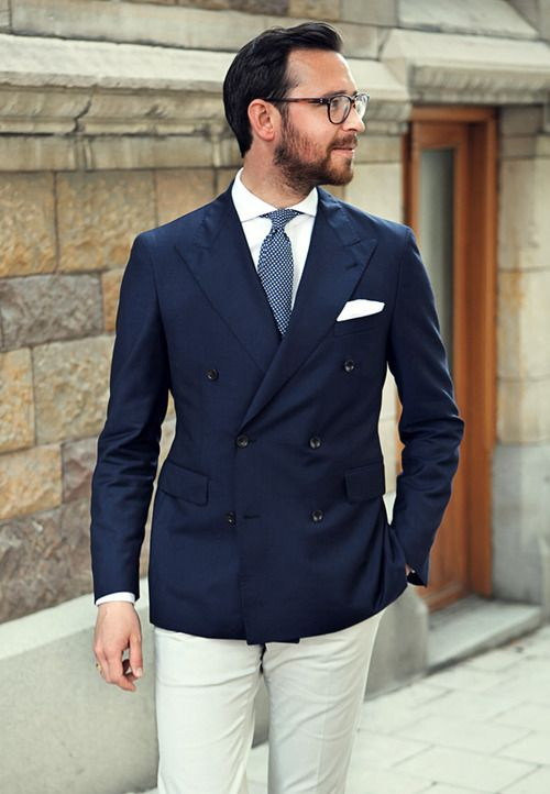 Navy Double Breasted Jacket, Light Blue Pin Dot Tie, White Linen
