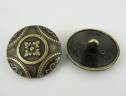 20PCS-New-Bronze-Tone-Flower-Decorative-Metal-Buttons-7-8-23-0mm