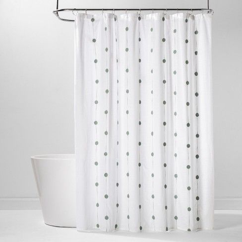 Geo Embroidered Shower Curtain White Green Project 62 White