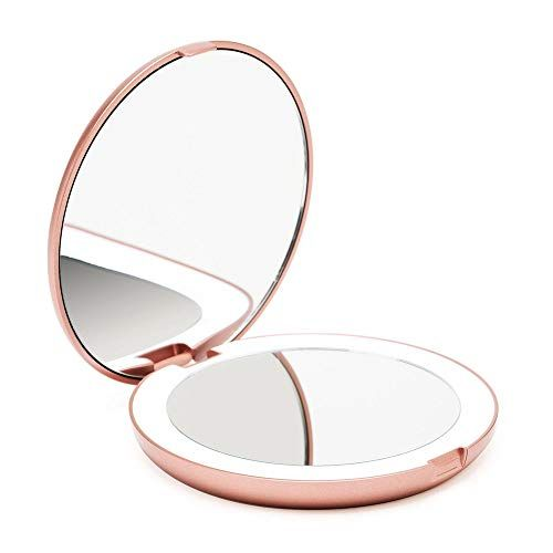 Fancii Led Lighted Travel Makeup Mirror 1x 10x Magnification Daylight Led Compact Portable Large 5 Wide In 2020 Travel Makeup Mirror Makeup Mirror Travel Mirror