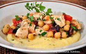 My Carolina Kitchen: Mediterranean Chicken Stew on Polenta