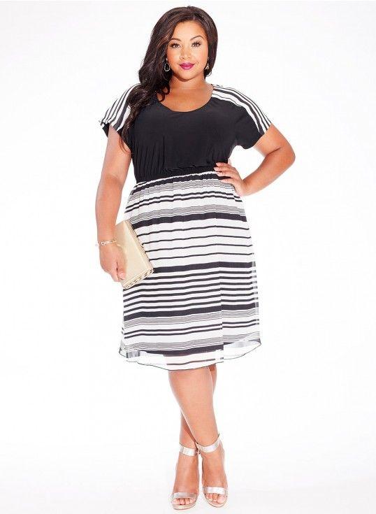 Malika Dress in Metro Stripe
