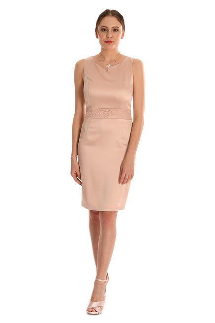 Festliches Satinkleid Jackchen Apricot Weise Mode Bosckens Satinkleid Kleider Kleid Mit Jacke