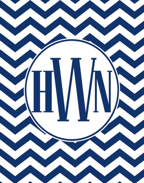 Navy  Chevron Monogram Wall Art Prints With by PurposelyDesigned, $20.00