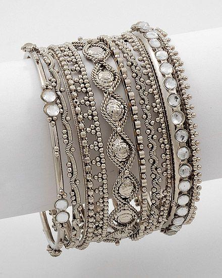 (8 Piece Stackable Bracelet  Antique Silver Tone)
