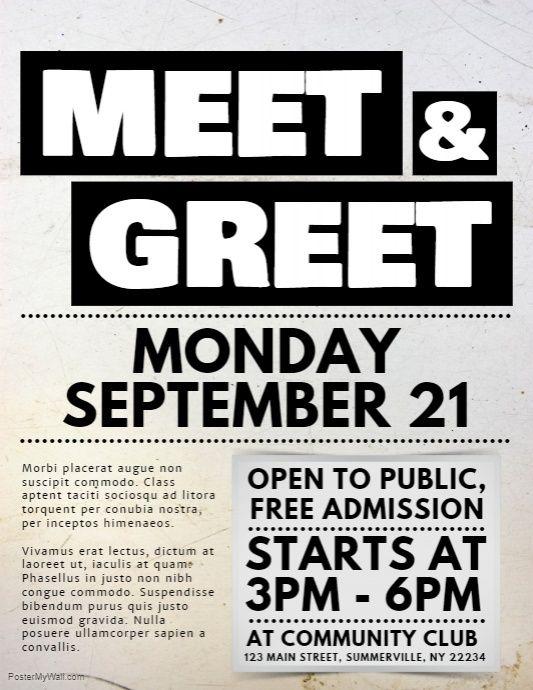Meet Greet Flyer Flyer Flyer Design Templates Graphic Design Flyer
