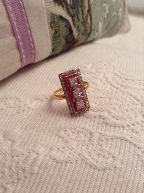 1920's Art Deco , hand made from the Cotswolds in UK, rose cut Diamonds and Ruby's