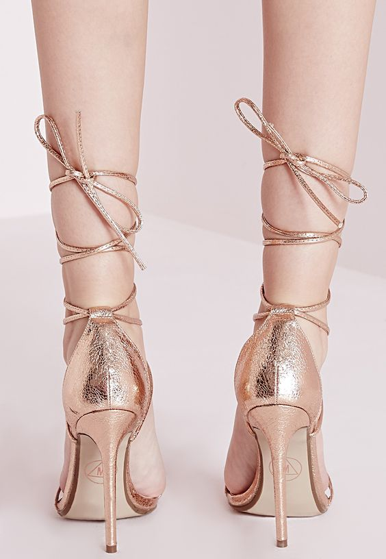 Missguided - Lace Up Barely There Heeled Sandals Rose Gold