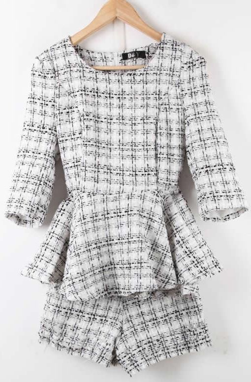 White Half Sleeve Plaid Ruffles Tweed Blouse