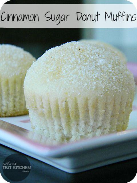 Yummy Cinnamon Sugar Donut Muffins via Mom's Test Kitchen. #donuts #dougnut #muffin #recipe #snack #dessert #breakfast #food