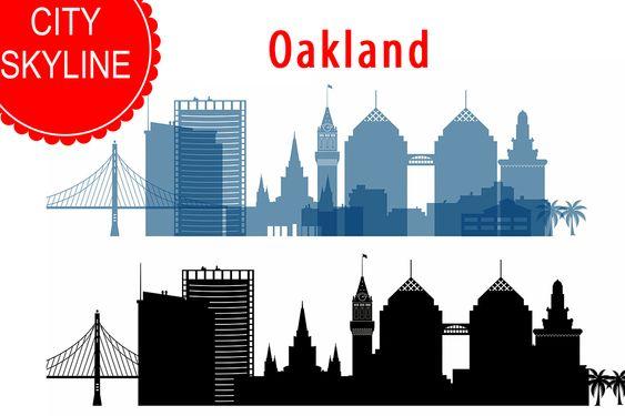 Oakland Skyline Vector California Usa City Svg Jpg Png Dwg Cdr Eps Ai 42488 Illustrations Design Bundles Usa Cities Skyline City Vector