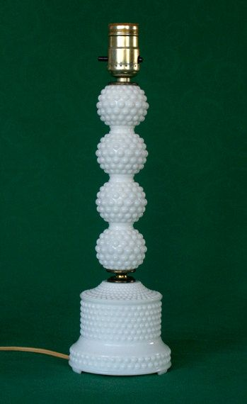 Beautiful Vintage Milk Glass Hobnail Table Dresser Lamp. $29.00, via Etsy.:
