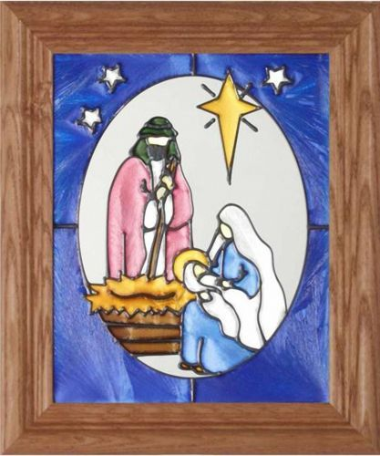 "CHRISTMAS NATIVITY SCENE ~ 10.5"" W X 12.5"" H ~ HAND-PAINTED ART GLASS PANEL 100% of the final sale price will support Mill Creek Rescue, Inc."