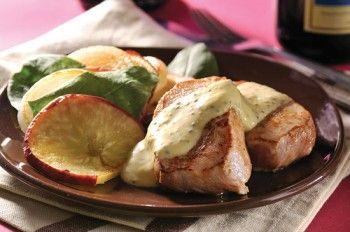 Filete de cerdo con manzana y salsa cremosa de mostaza