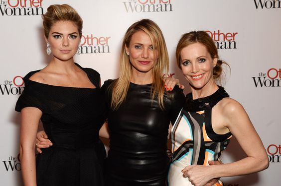 (L-R) Kate Upton, Cameron Diaz and Leslie Mann attend the UK gala premiere of 'The Other Woman' at The Curzon Mayfair on April 2, 2014 in Lo...
