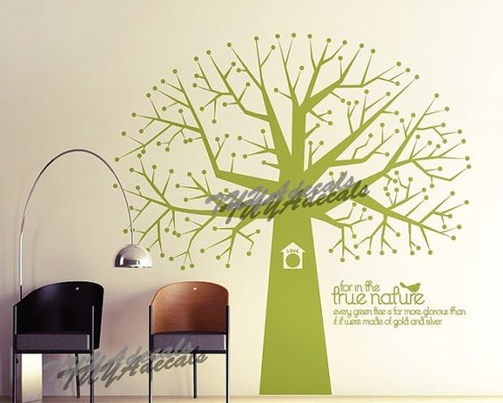 wall decals  Vinyl Wall Decal Nature Design Tree Wall Decals chrildrens wall decals Wallstickers Tree with bird decal:in the frue nature