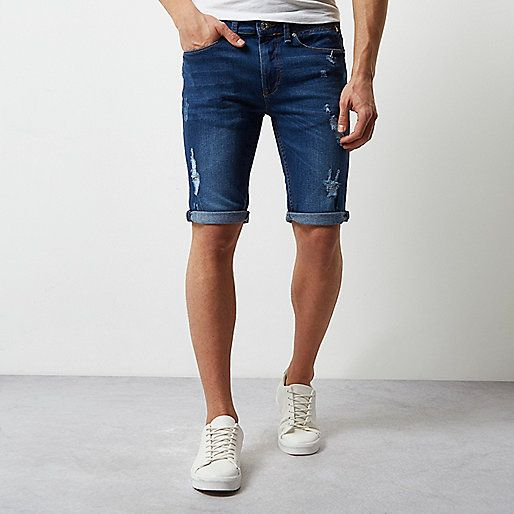 Mid blue wash skinny ripped denim shorts - casual shorts - shorts - men