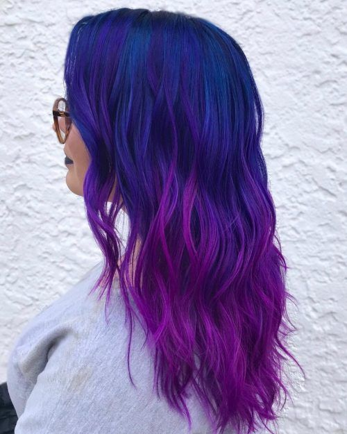 22 Stunning Purple Ombre Hair Color Ideas For 2020 In 2020 Blue Purple Hair Purple Ombre Hair Magenta Hair