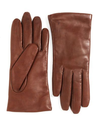 Wrist-Length Cashmere-Lined Leather Gloves