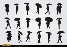 Silhouettes Set Of People Walking With Umbrellas Any Umbrella S Promo Will Look Nice With These High Qua Silhouette Art Silhouette Painting Silhouette Vector