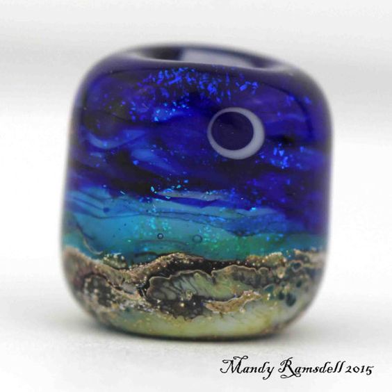 Dread bead MOONLIT SEAS bead glass dread by lionspawjewelry