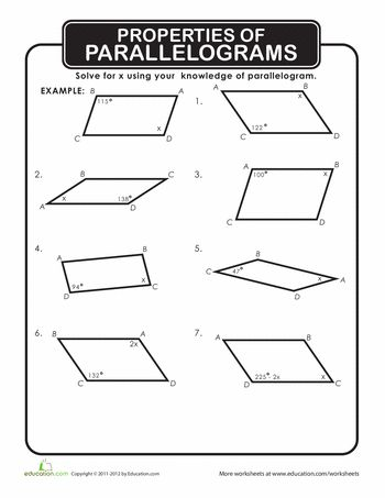 Worksheets Properties Of Parallelograms Worksheet free worksheets library download and print on quadrilateral worksheets