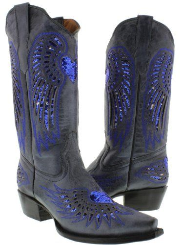 Cowboy Professional - Women's Wings with Heart Denim Blue Leather ...