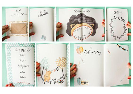 Babytagebücher - Babybuch A5 - ein Designerstück von baer-von-pappe bei DaWanda