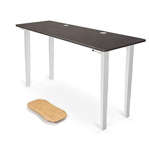 Uplift Desk V2 Ash Gray Greenguard Laminate Desktop Standing Desk 4 Leg Height Adjustable Frame Whit Desktop Standing Desk Ergonomic Chair Modway Furniture