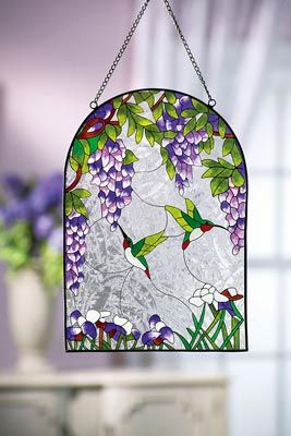 Wisteria Flowers & Hummingbirds Glass Suncatcher