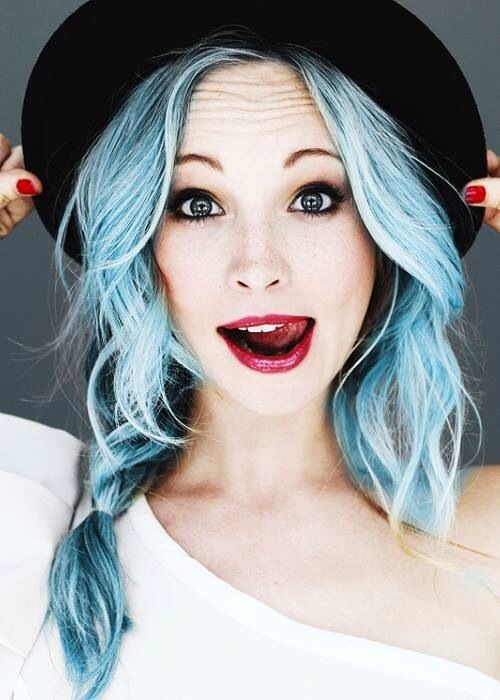 Electric blue hair. I think this would look good if someone dyed like the underneath of their hair this color...merp