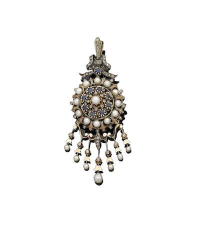 A cultured pearl, sapphire and diamond brooch/pendant