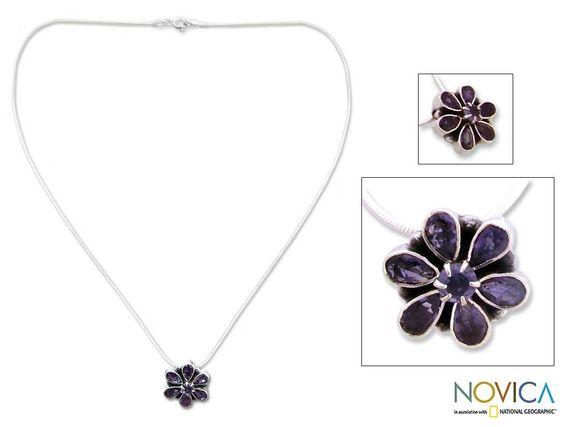 Novica Sterling 'Shy Violet' Iolite Necklace
