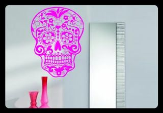 Mexican Decorations   Mexican Decor   Mexican Art   Mexican Folk Art   Home Decorating Accessories   Shop Now ♥ Pink Sugarskull Wall Vinyl Decal Sticker ~ Mexican Chic Boutique