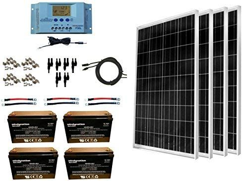 Windynation 400 Watt Solar Kit 4pcs 100w Solar Panels P30l Lcd Pwm Charge Controller Mounting Hardware Solar Panel Kits Off Grid Solar Panels Solar Kit