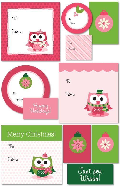 Printable Christmas Tags- Green & Pink & Owls!