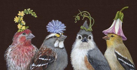 | Last to Know on Flower Hat Night. Vicki Sawyer | Folksy Birds: