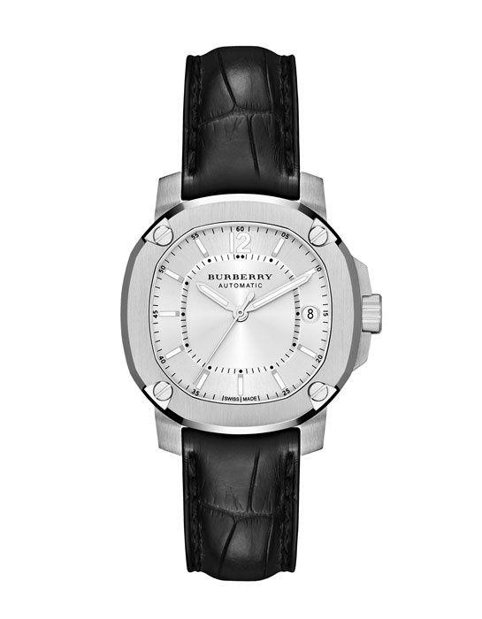 """La montre automatique """"The Britain"""" de Burberry http://www.vogue.fr/joaillerie/le-bijou-du-jour/diaporama/la-montre-automatique-the-britain-acier-inoxyable-de-burberry/11863#!4"""