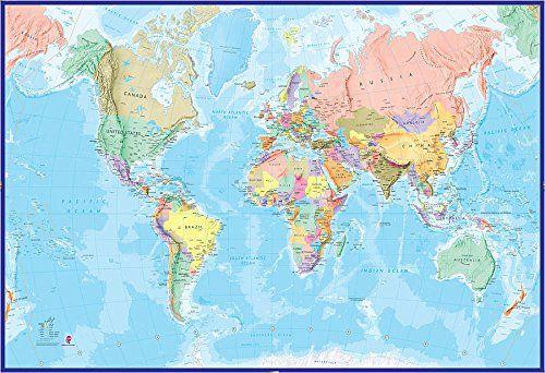 Carte Géante du Monde Pour Mur - Océan Bleu: Amazon.fr: Cuisine & Maison