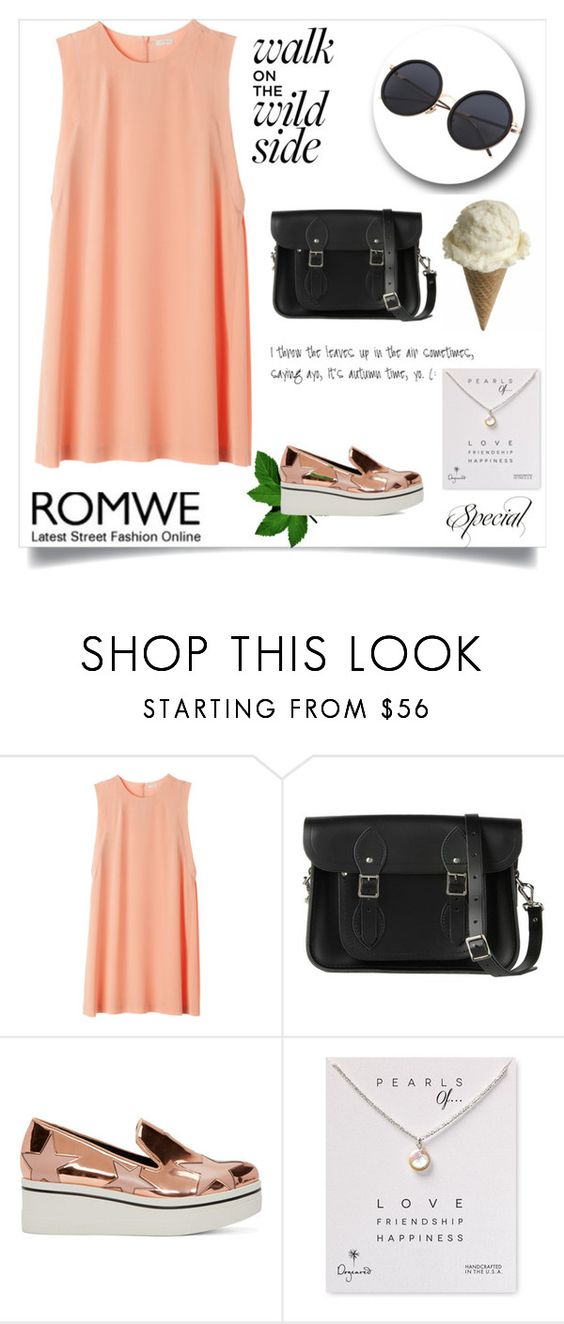 """""""Romwe"""" by missbijou ❤ liked on Polyvore featuring The Cambridge Satchel Company, STELLA McCARTNEY, Dogeared and romwe"""