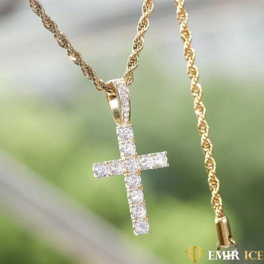 Or Massif croisés Diamant Pendentif Croix Collier