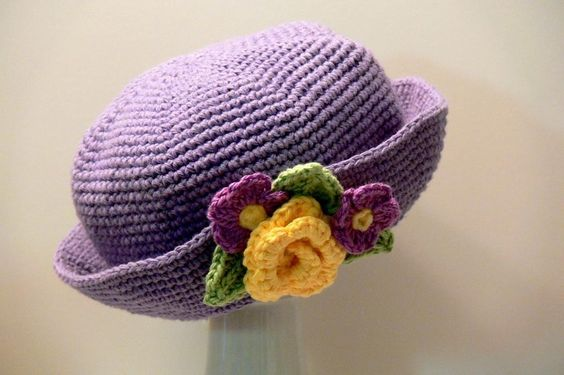 Ladies Rose & Violets Brimmed Hat Girls Ladies L Crochet pattern by Meadowvale Studio