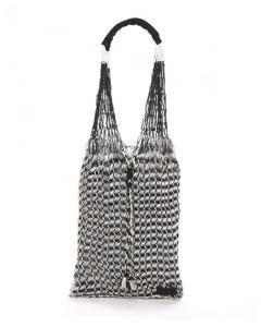 Black and White Large Cotton Mesh Bag